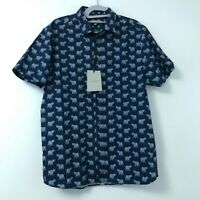 New Ted Baker Men's Blue Tiger Print Button Down Short Sleeve Shirt Size 4 Large