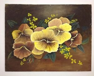 Vintage 11x14 Original Primitive Painting Yellow Pansy Flowers Still Life Signed