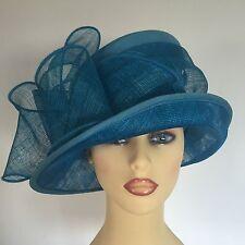 Ladies Wedding Races Mother Bride Hat Turquoise Blue Silk  Peter Bettley London