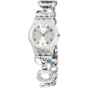 Swatch Ladies Menthol Tone Silver Dial Stainless Steel Bracelet Watch LK292G