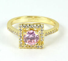 Women's 18 Carat Gold plated Pink Cubic Zircon Ring Jewellery UK Size N