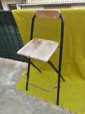 Tabouret Bistro Ecole Bois Métal Pliant Ikea Dennis 1999 Vintage Indus Rétro