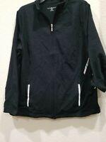KAREN SCOTT Sport Women's PLUS Size 3X Zip Front Sweatshirt**Black**Pockets**NWT