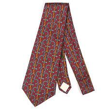 Vintage 1970's HERMES I. MAGNIN Lucky Horse Shoe Burgundy Red Mens Silk Neck Tie