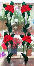 4 ROSES STAINED GLASS EFFECT WINDOW CLING DOOR DECORATION MOTIF PEELABLE DECOR