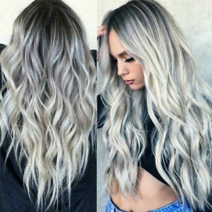 """26"""" Ladies Grey Silver Long Curly Wigs Womens Ombre Party Wavy Hair Cosplay Wig"""
