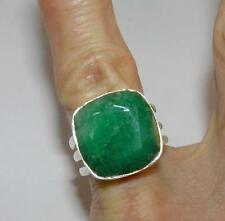 Genuine Emerald Faceted Cabochon Square Ring Tripl Band Sterling Silver Size 6.5