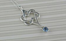 Sterling Silver Celtic Double Heart Pendant with Blue Topaz Irish Barry Doyle