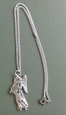 Angel pewter pendant, Archangel Michael, hand made with surgical steel chain