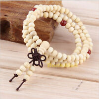 Buddhist Buddha Meditation Wood Prayer 6mm 108 Beads Mala Bracelet - White