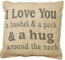 "I LOVE YOU A BUSHEL AND A PECK Small Burlap Throw Pillow, 8"" x 8"", Country House"