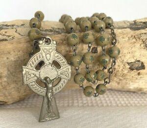 Vintage Irish Rosary Beads Green Shamrock Prayer Mediation Comfort