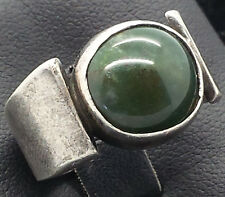Vintage Round Green Stone Modern Fine Sterling Silver 925 Ring 9g Sz.7 R1146