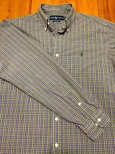 Ralph Lauren Classic Fit Polo Shirt - Purple & Green Plaid- Medium - Southern