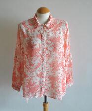 Ladies Topshop Coral Orange White Crepe Porcelain China Printed Shirt Size 6