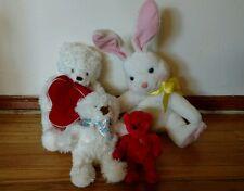 Lot 4 Hallmark Plush Stuffed Animal Dolls White Easter Bunmy Bear Red Get Well