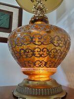 1 Vtg XL Mid Century Amber Optic Glass w/Gold & White Deco Hollywood Regency