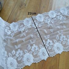 2YDs high quality Embroidered white mirror Floral Tulle Lace Trim in white gauze