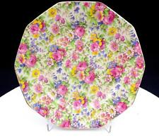 """ROYAL WINTON SUMMERTIME CHINTZ RARE TEN SIDED 8"""" LUNCHEON PLATE 1934"""