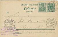 DEUTSCHES REICH 1900 Krone GA-Antwort-Postkarte selt. MiF m. Germania MORSCHWIL