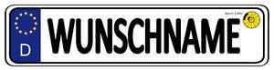 Namensschild im KFZ Kennzeichen Look +Pad versch.Größen