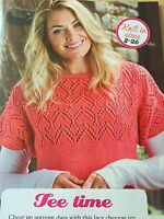 KNITTING PATTERN Ladies Chevron Lace Top Short Sleeve Jumper Debbie Bliss