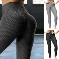 Women Anti-Cellulite High Waist Yoga Pants Ruched Push Up Leggings Gym Sports US