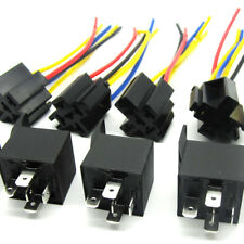 5X Dc 12V Car Spdt Automotive Relay 5 Pin 5 Wires w/Harness Socket 30/40 Amp New