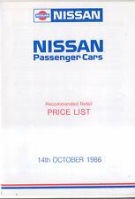 Nissan Price List 1986 Oct Micra New Sunny Bluebird Prairie Silvia Laurel 300