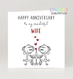 Same Sex Wife Anniversary Card, Fun Gay/Lesbian Greeting Card, Blank Inside