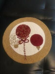 """Unique Bharat Beaded Santa Claus Round Table Mat """"14X14"""" Inches For Home Decor"""