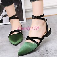 Womens Strappy Casual Pointy Toe Slingbacks Ankle Strap Sandals Flats Shoes Size