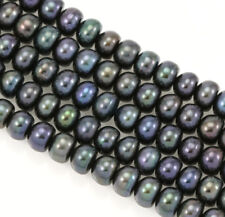 6-7mm Peacock Black Button Rondelle Freshwater Pearls Beads AA Jewellery Making