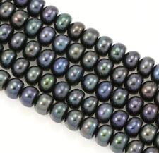 Perles de Culture d'Eau Douce 7-8mm Rondelles Boutons Noir Paon AA