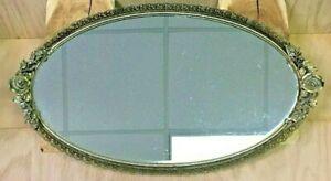 Vintage Matson Ormolu Filigree Roses Flower Vanity Mirror Oval Tray