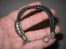 "Beautiful Silver Plating - Fits 7"" Silver Plated And Leather Bracelet -"