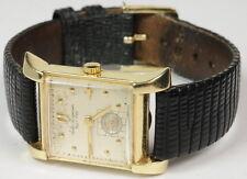 Mens Vintage Jules Jurgensen 14K Gold & Leather Wrist Watch G270207