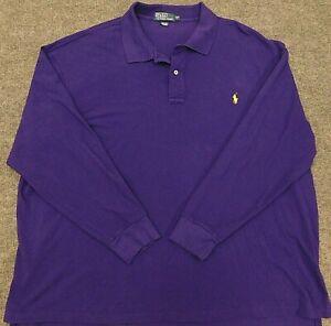 POLO RALPH LAUREN 4XB Long Sleeve Golf Shirt Purple w/ Yellow Pony 4XLT Big Tall