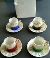 Arnart 5th Avenue 2059 Demitasse Cup & Saucer 8 Piece Set Vintage Hand Painted