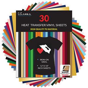 "Heat Transfer Vinyl Sheets HTV Bundle  - 30 Sheets 12""x10""- Cricut Iron On Vinyl"