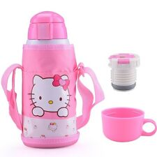 600ml Kid Vacuum Flask Stainless Steel Insulated Travel Thermos Cup (Kitty)