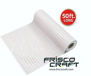"""Frisco Craft 12"""" x 50 FT Clear Transfer Tape with Alignment Grid for Vinyl"""