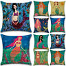 Mermaid Print Sofa Square Throw Waist Pillow Case Cushion Cover Home Decor Gifts