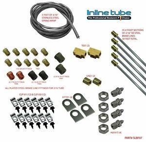 "1982-1990 GM Cars 3/16"" Brake Line Set Universal Kit STREETROD W/ Hose Tab SAE"