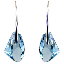 Earrings 9ct White Gold GF Blue Topaz Drop Hook Party Gift 40 mm Gift Summer