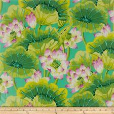 Kaffe Fassett Lake Blossoms Gp93 Spring Green Floral Cotton Fabric 1/2 Yard