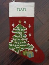 New Pottery Barn Monogram Dad Red Crewel Christmas Tree Stocking