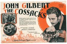 THE COSSACKS - Vintage 1928 Silent Film JOHN GILBERT Movie Herald RENEE ADOREE