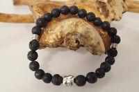 Herren Männer Armband handgefertigt Edelsteine Vulkanstein/Lava Buddha