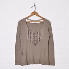 Banana Republic Taupe Brown Ruffle 1/2 Button Up Henley T-Shirt Blouse Top PM